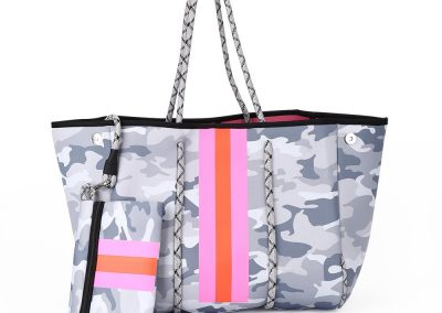 neoprene white camo bag with pink stripe