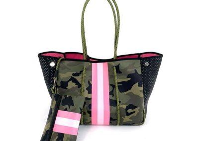 camo bag with pink stripe