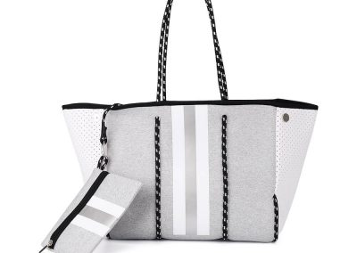 neoprene grey tote bag with strpe