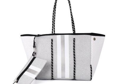 neoprene grey tote bag with strpe