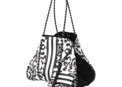 neoprene leopard tote with stripe