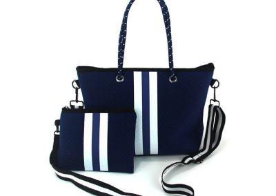 neoprene blue handbag