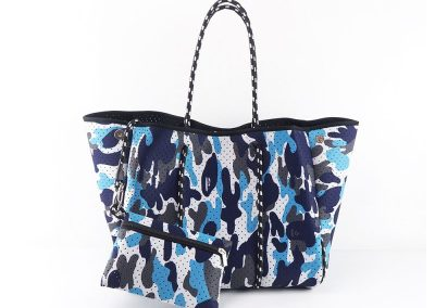 neoprene tote bag with small pouch