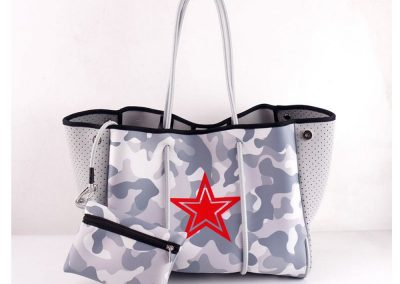 neoprene tote bag with toiletry bag