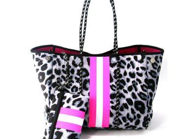 neoprene snow leopard tote bag
