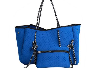 neoprene blue tote bag
