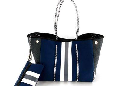 striped neoprene tote bag