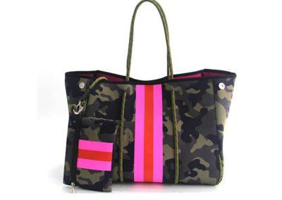 neoprene camo bag with stripe