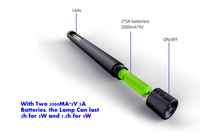 UV wand sterilizer with replaceable battery